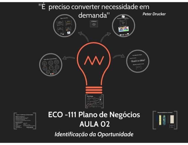 ECO 111 - Aula 02 - Identificação da Oportunidade