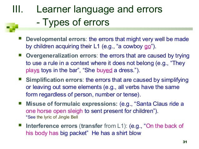 Overgeneralization examples in language.