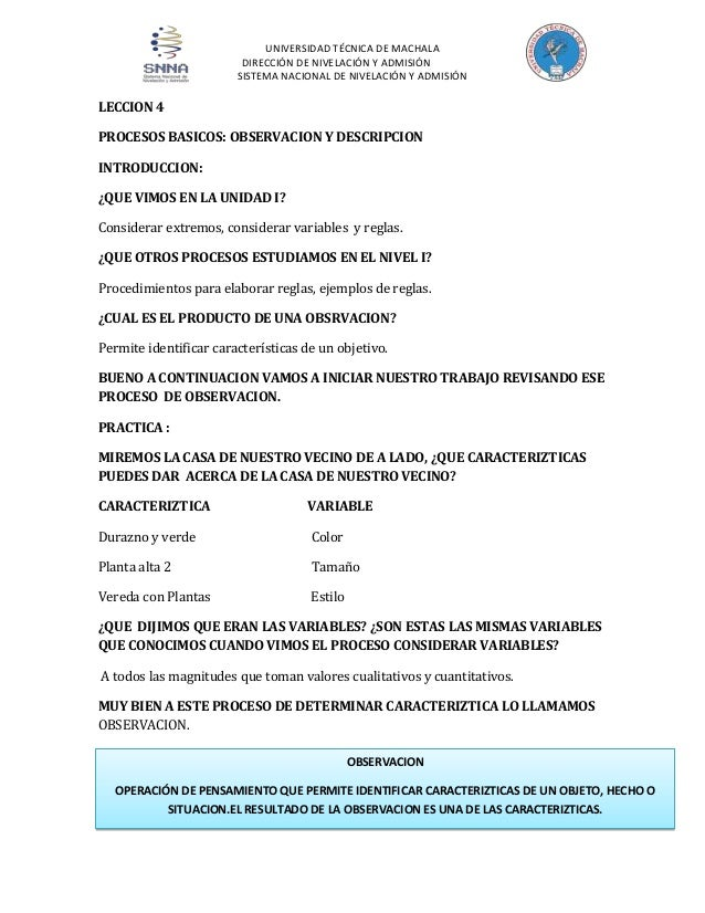 UNIVERSIDAD TÉCNICA DE MACHALA DIRECCIÓN DE NIVELACIÓN Y ADMISIÓN SISTEMA NACIONAL DE NIVELACIÓN Y ADMISIÓN  LECCION 4 PRO...