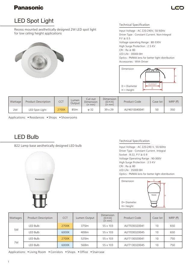 panasonic catalogue pricelist of led luminaires