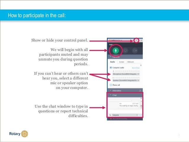 1 How to participate in the call: Show or hide your control panel. We will begin with all participants muted and may unmut...