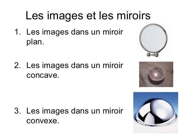 Les images et les miroirs 1. Les images dans un miroir plan. 2. Les images dans un miroir concave. 3. Les images dans un m...