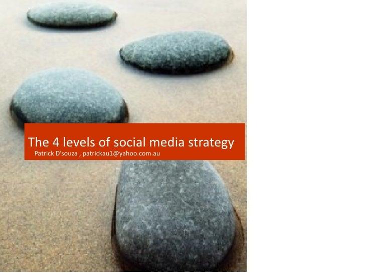 The 4 levels of social media strategy Patrick D'souza , patrickau1@yahoo.com.au