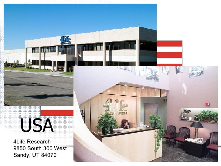 USA 4Life Research 9850 South 300 West Sandy, UT 84070