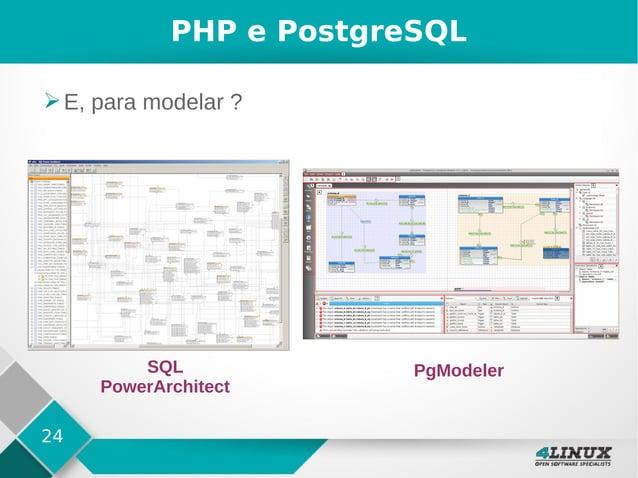 24 PHP e PostgreSQL ➢E, para modelar ? SQL PowerArchitect PgModeler