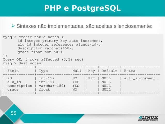 55 PHP e PostgreSQL ➢ Sintaxes não implementadas, são aceitas silenciosamente: mysql> create table notas ( id integer prim...