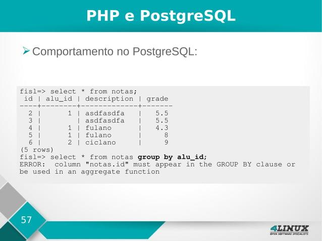 57 PHP e PostgreSQL ➢Comportamento no PostgreSQL: fisl=> select * from notas; id   alu_id   description   grade ----+-----...