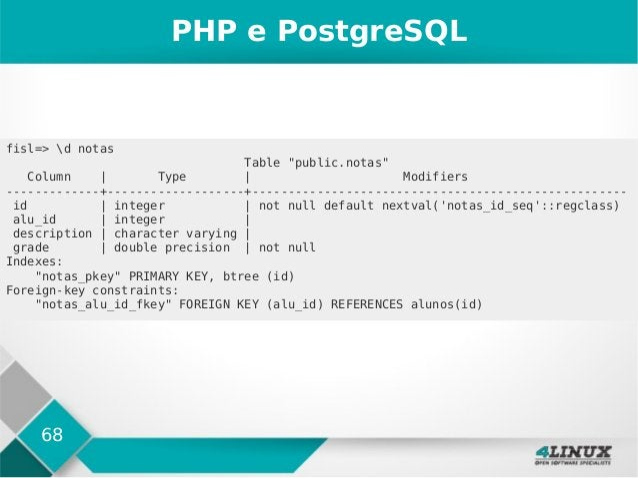 "68 PHP e PostgreSQL fisl=> d notas Table ""public.notas"" Column   Type   Modifiers -------------+-------------------+------..."