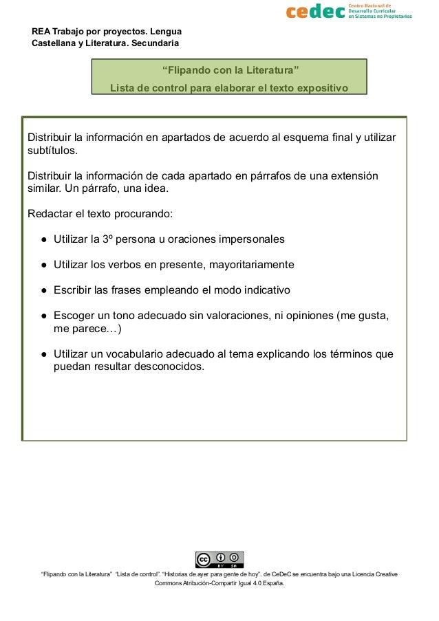 """REA Trabajo por proyectos. Lengua Castellana y Literatura. Secundaria """"Flipando con la Literatura"""" Lista de control para e..."""