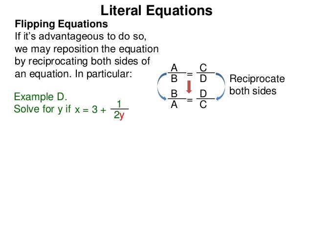 how to solve literal equations