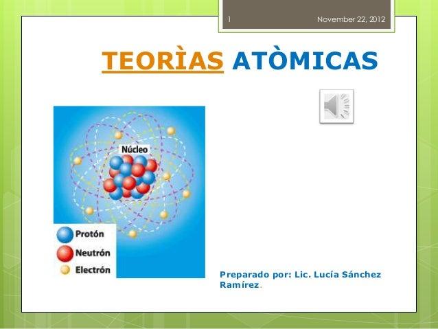 1                 November 22, 2012TEORÌAS ATÒMICAS      Preparado por: Lic. Lucía Sánchez      Ramírez.