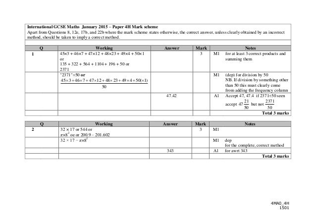 igcse maths 15th january 2014 mark scheme
