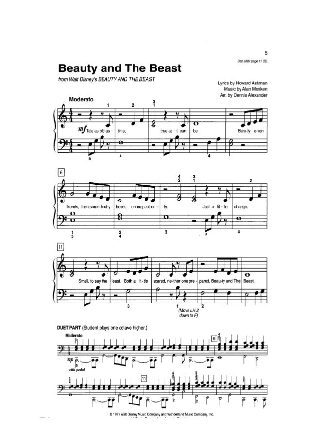 Piano mission impossible piano sheet music : and the beast - 4 mains piano