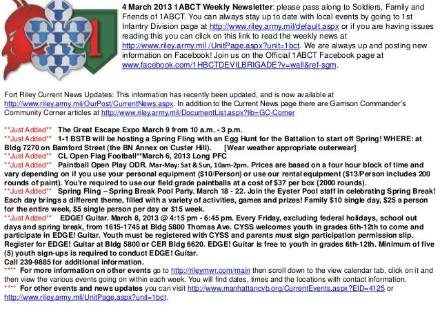 4 March 2013 1ABCT Weekly Newsletter: please pass along to Soldiers, Family and                                   Friends ...