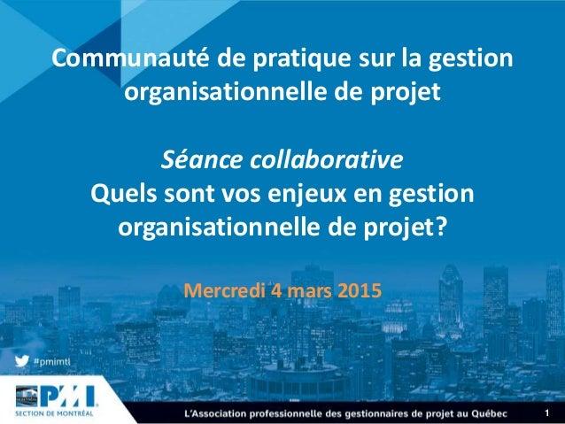 1 Communauté de pratique sur la gestion organisationnelle de projet Séance collaborative Quels sont vos enjeux en gestion ...