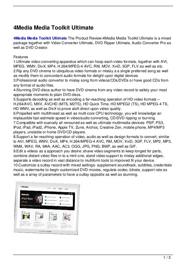 4Media Media Toolkit Ultimate4Media Media Toolkit Ultimate The Product Review:4Media Media Toolkit Ultimate is a mixedpack...