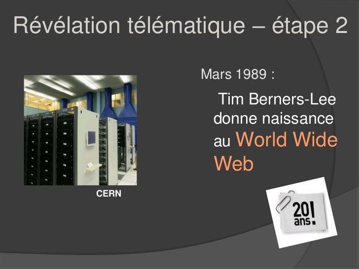 Révélation télématique – étape 2                 Mars 1989 :                    Tim Berners-Lee                   donne na...