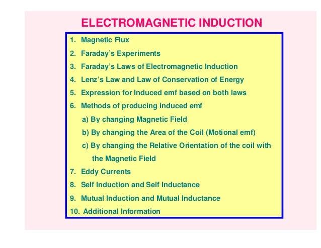 ELECTROMAGNETIC INDUCTION1. Magnetic Flux2. Faraday's Experiments3. Faraday's Laws of Electromagnetic Induction4. Lenz's L...