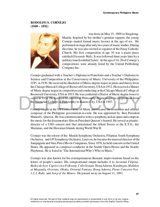 DEPED COPY Contemporary Philippine Music 97 RODOLFO S. CORNEJO (1909 – 1991) R o d o l f o S . C o r n e j o was born on M...