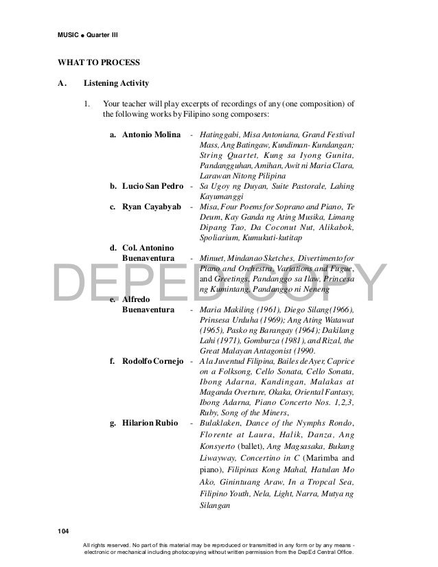 DEPED COPY MUSIC  Quarter III 104 WHAT TO PROCESS A. Listening Activity 1. Your teacher will play excerpts of recordings ...