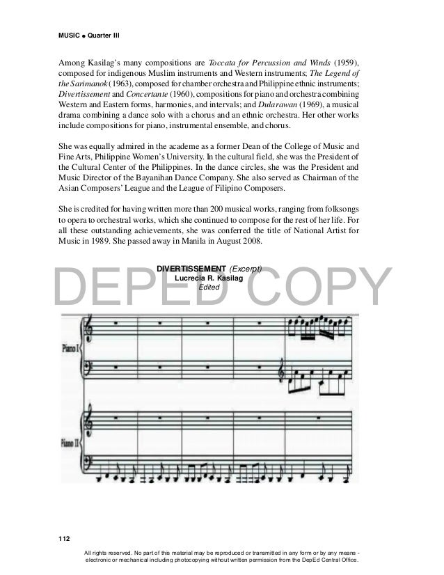 DEPED COPY MUSIC  Quarter III 112 DIVERTISSEMENT (Excerpt) Lucrecia R. Kasilag Edited Among Kasilag's many compositions a...
