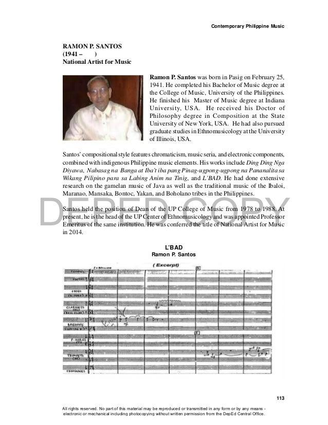 DEPED COPY Contemporary Philippine Music 113 RAMON P. SANTOS (1941 – ) National Artist for Music Ramon P. Santos was born ...