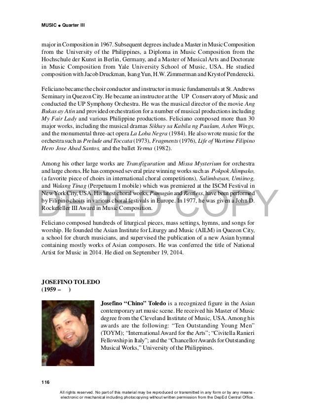 """DEPED COPY MUSIC  Quarter III 116 JOSEFINO TOLEDO (1959 – ) Josefino """"Chino"""" Toledo is a recognized figure in the Asian c..."""