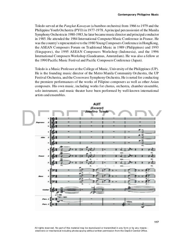 DEPED COPY Contemporary Philippine Music 117 Toledo served at the Pangkat Kawayan (a bamboo orchestra) from 1966 to 1979 a...