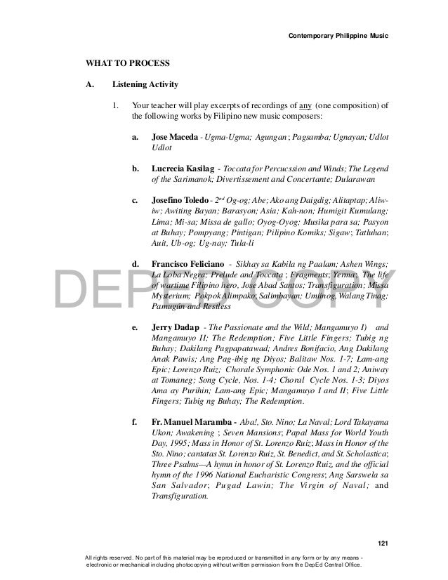 DEPED COPY Contemporary Philippine Music 121 WHAT TO PROCESS A. Listening Activity 1. Your teacher will play excerpts of r...