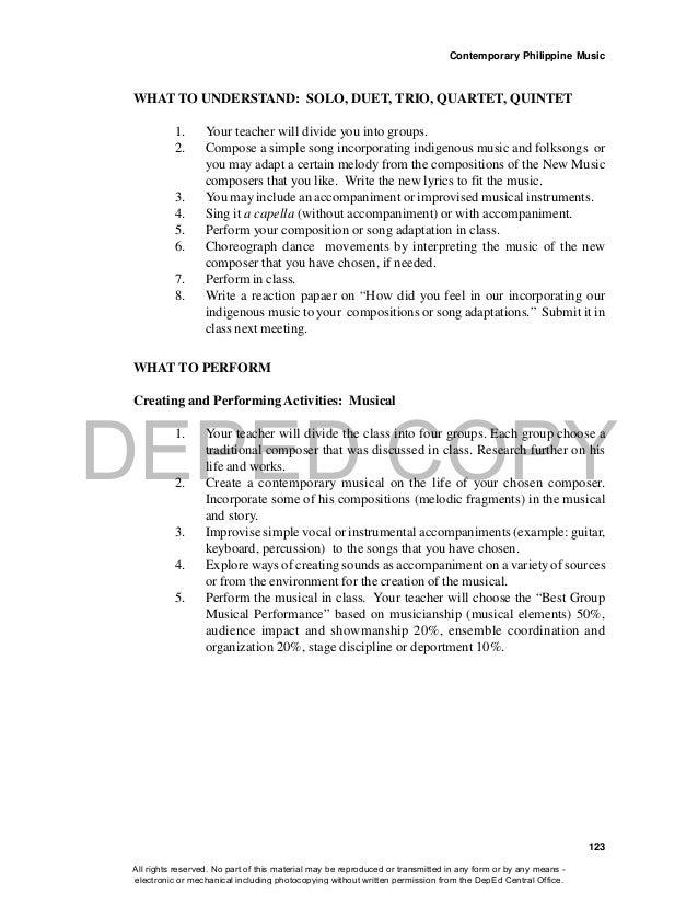 DEPED COPY Contemporary Philippine Music 123 WHAT TO UNDERSTAND: SOLO, DUET, TRIO, QUARTET, QUINTET 1. Your teacher will d...