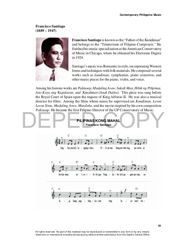 """DEPED COPY Contemporary Philippine Music 91 Francisco Santiago (1889 – 1947) Francisco Santiago is known as the """"Father of..."""