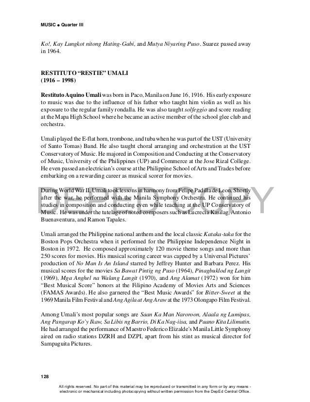 DEPED COPY MUSIC  Quarter III 128 Ko!, Kay Lungkot nitong Hating-Gabi, and Mutya Niyaring Puso. Suarez passed away in 196...