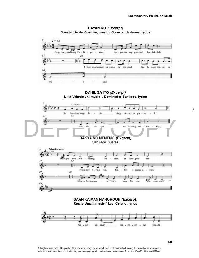 DEPED COPY Contemporary Philippine Music 129 BAYAN KO (Excerpt) Constancio de Guzman, music / Corazon de Jesus, lyrics DAH...