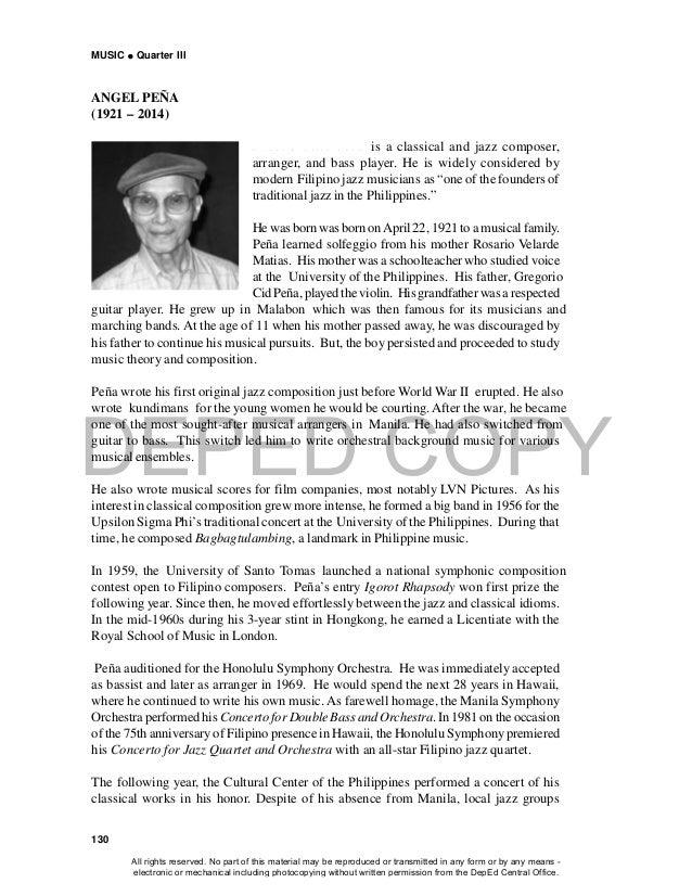 DEPED COPY MUSIC  Quarter III 130 ANGEL PEÑA (1921 – 2014) A n g e l M a t i a s P e ñ a is a classical and jazz composer...