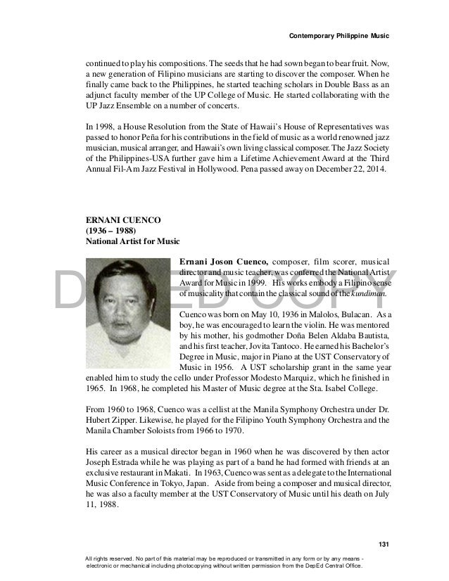 DEPED COPY Contemporary Philippine Music 131 continued to play his compositions. The seeds that he had sown began to bear ...