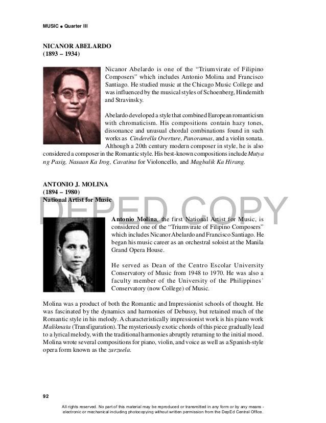 "DEPED COPY MUSIC  Quarter III 92 NICANOR ABELARDO (1893 – 1934) Nicanor Abelardo is one of the ""Triumvirate of Filipino C..."