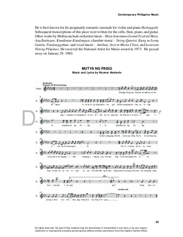 DEPED COPY Contemporary Philippine Music 93 MUTYA NG PASIG Music and Lyrics by Nicanor Abelardo He is best known for his p...
