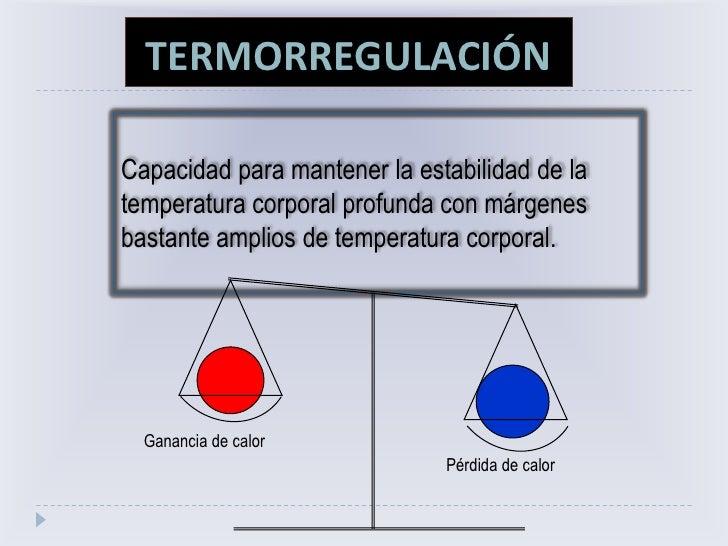 TERMORREGULACIÓN<br />Capacidad para mantener la estabilidad de la <br />temperatura corporal profunda con márgenes bastan...