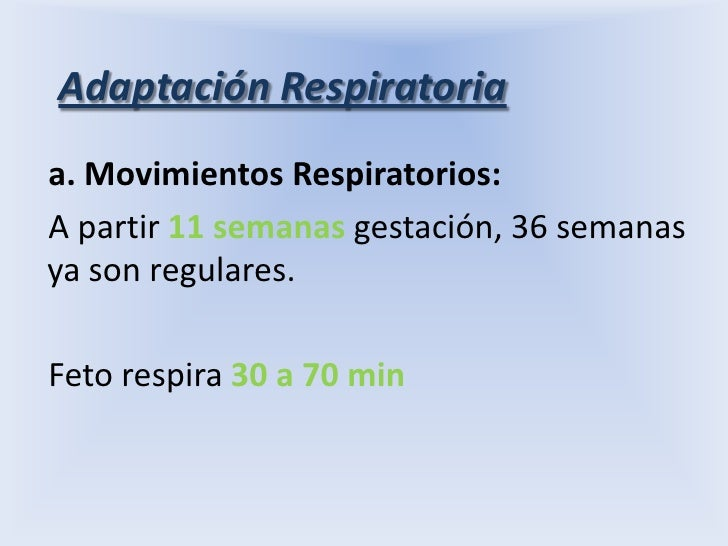 Adaptación Respiratoria<br />a. Movimientos Respiratorios:<br />A partir 11 semanas gestación, 36 semanas  ya son regulare...