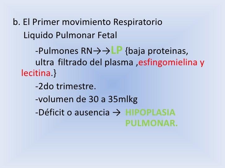 b. El Primer movimiento Respiratorio<br /> Liquido Pulmonar Fetal <br />-Pulmones RN->->LP {baja proteinas, ultra fil...