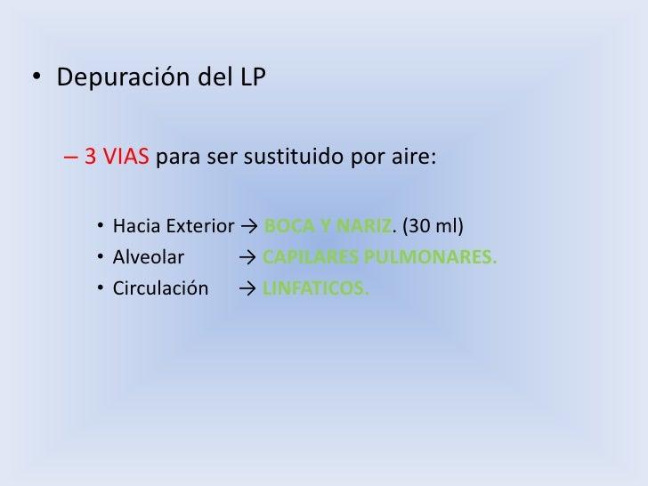 Depuración del LP<br />3 VIAS para ser sustituido por aire:<br />Hacia Exterior -> BOCA Y NARIZ. (30 ml)<br />Alveolar    ...