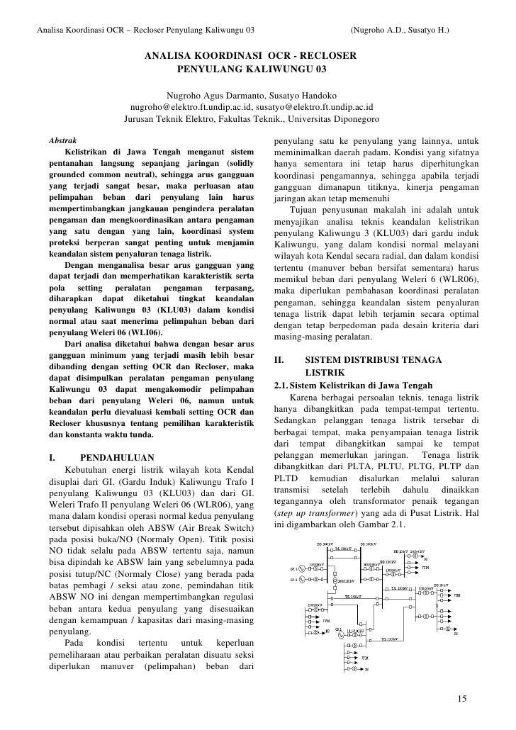 Analisa Koordinasi OCR – Recloser Penyulang Kaliwungu 03                      (Nugroho A.D., Susatyo H.)                  ...