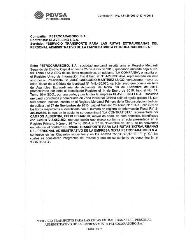 Contrato de Petrocarabobo a Clavellino I C.A. para transporte de personal, ruta extraurbana