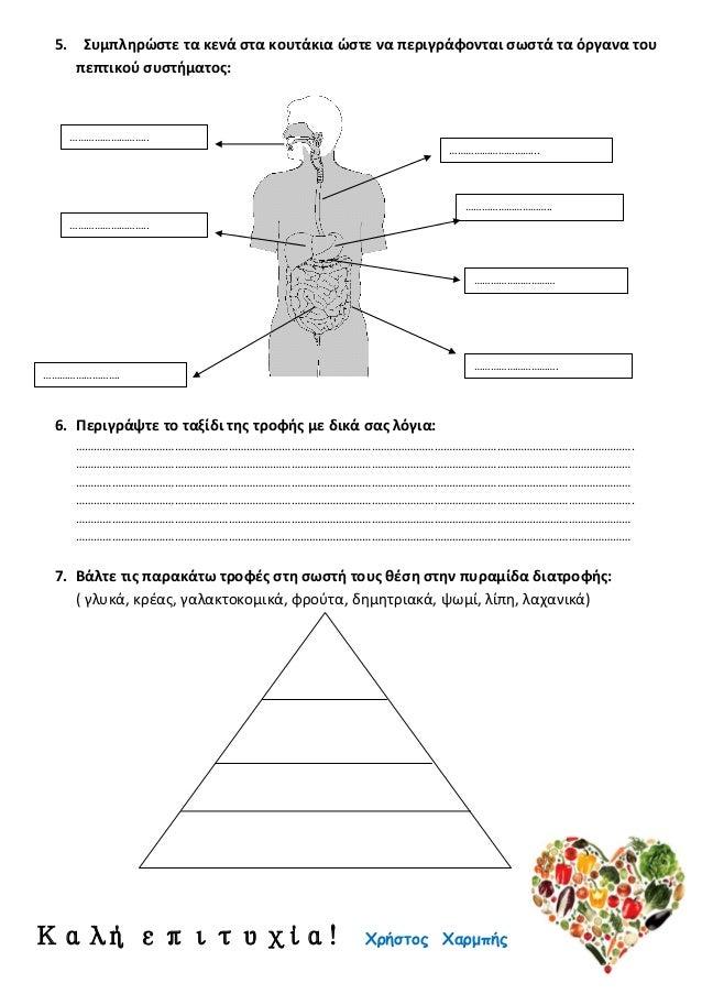 5. Συμπληρώστε τα κενά στα κουτάκια ώστε να περιγράφονται σωστά τα όργανα του πεπτικού συστήματος: 6. Περιγράψτε το ταξίδι...