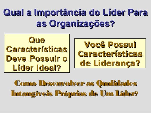 Qual a Importância do Líder ParaQual a Importância do Líder Para as Organizaçõesas Organizações?? QueQue CaracterísticasCa...