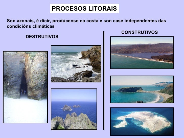 PROCESOS LITORAIS Son azonais, é dicir, prodúcense na costa e son case independentes das condicións climáticas DESTRUTIVOS...