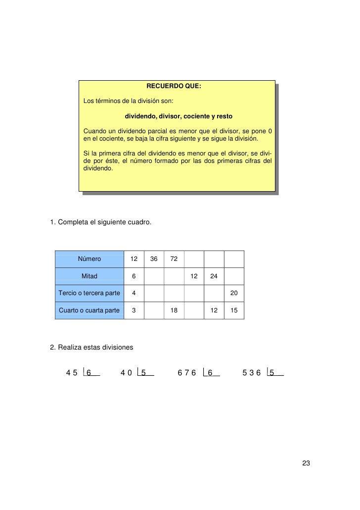 3. Completa la tabla teniendo en cuenta que dividir entre cinco es hallar la quintaparte.               Número        40  ...
