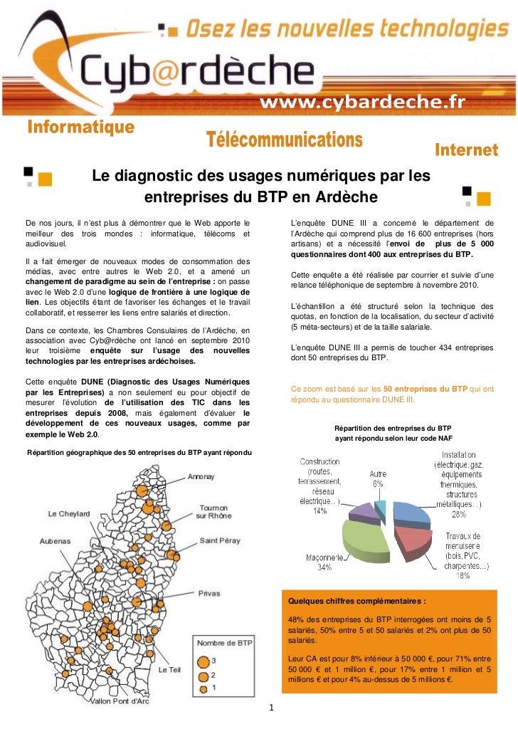 Le diagnostic des usages numériques par les                          entreprises du BTP en ArdècheDe nos jours, il n'est p...