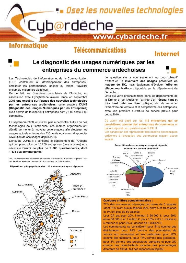 Le diagnostic des usages numériques par les                            entreprises du commerce ardéchoises Les Technologie...