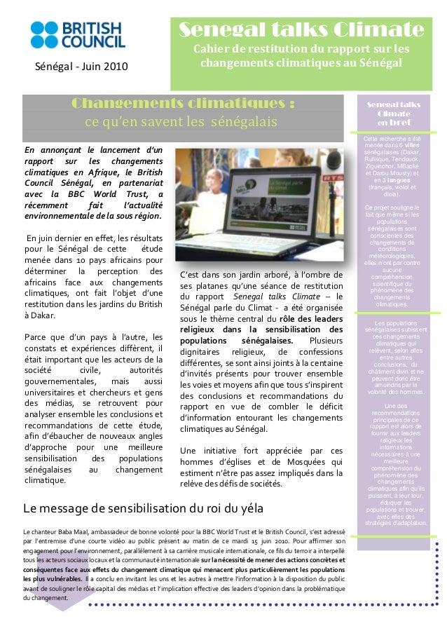 Senegal talks Climate                                                             Cahier de restitution du rapport sur les...